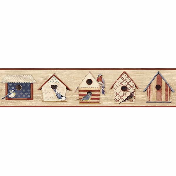 Picture of Cottage Chic Birdhouses Dark Red Border