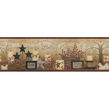 Picture of Caring Candles Dark Red Border