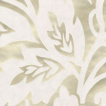 Picture of Velma Champagne Flocked Paisley Wallpaper