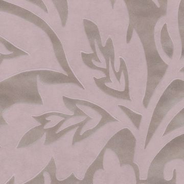 Picture of Velma Pink Flocked Paisley Wallpaper