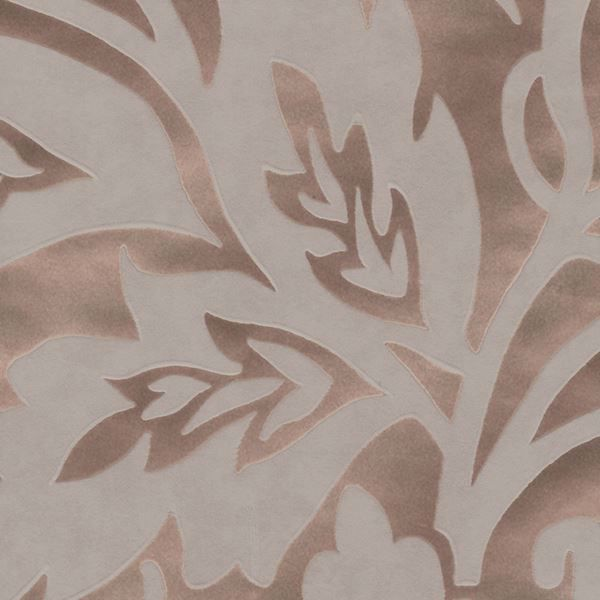 Picture of Velma Rose Gold Flocked Paisley Wallpaper