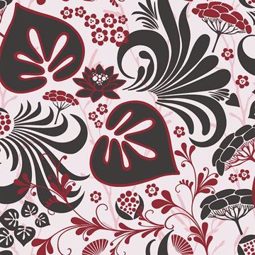Picture of Nayeli Red Modern Floral Motif