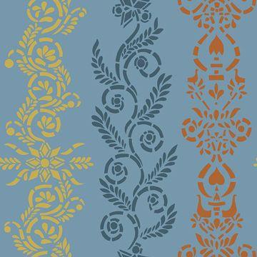 Picture of Anja Blue Ornate Stripe