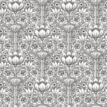 Picture of Odessa White Garden Damask