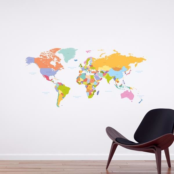 Picture of Colorful Map Wall Decals