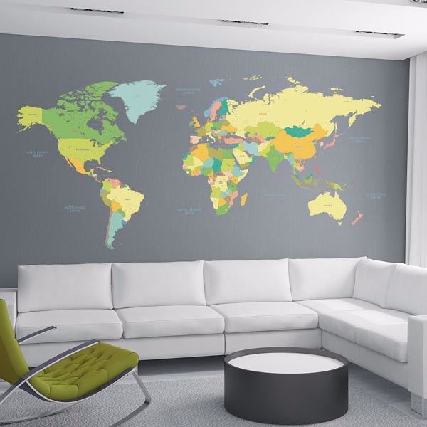 Picture of Colored Map Wall Decals