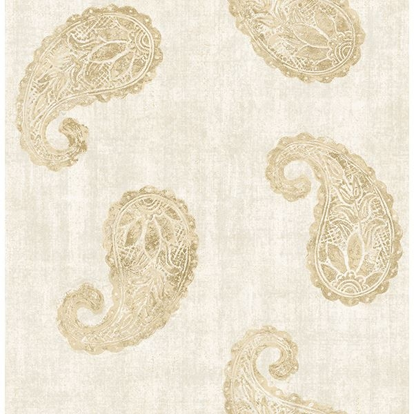 Picture of Kashmir Cream Paisley Wallpaper