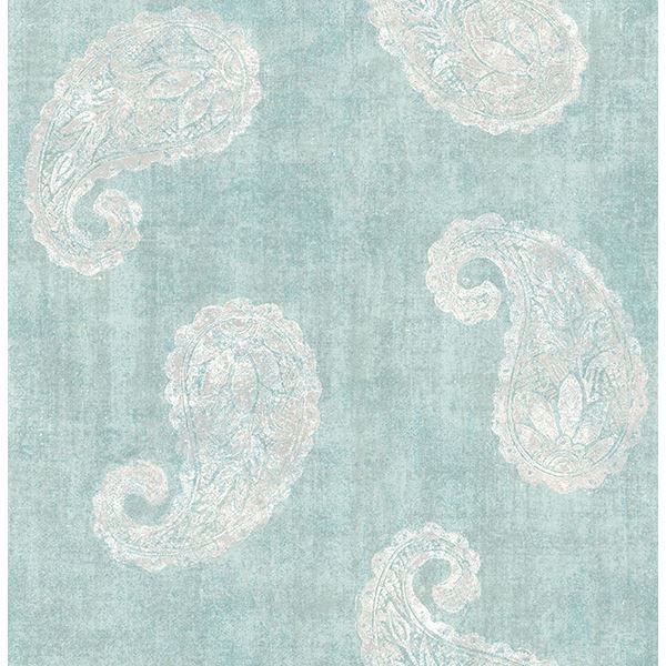 Picture of Kashmir Teal Paisley Wallpaper