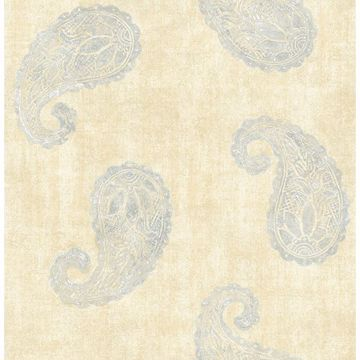 Picture of Kashmir Yellow Paisley Wallpaper