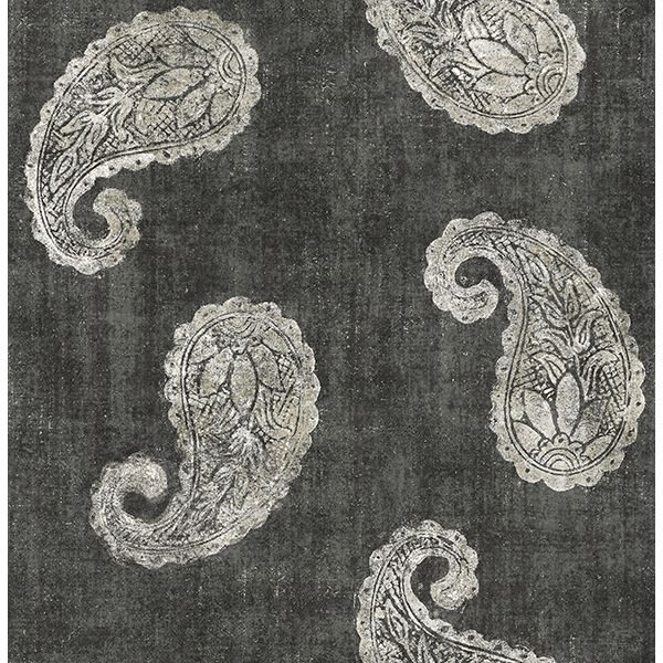 Picture of Kashmir Charcoal Paisley Wallpaper
