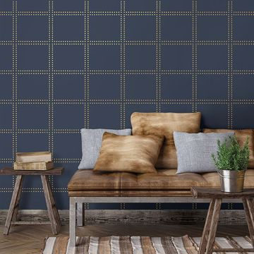 Picture of Gridlock Navy Geometric