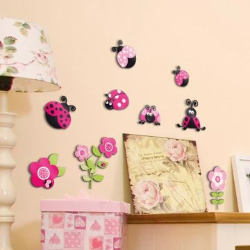 Picture of Pink Ladybugs 3D Wall Decals