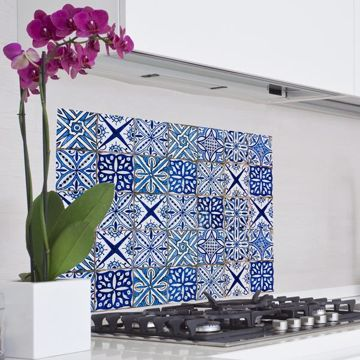 Picture of Blue Azulejos Kitchen Panel Decal