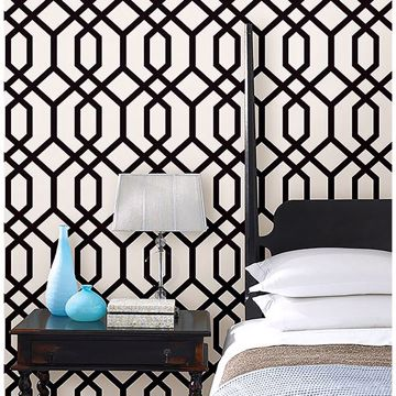 Picture of Trellis Black Montauk Wallpaper