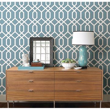 Picture of Trellis Blue Montauk Wallpaper