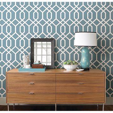 Picture of Trellis Blue Montauk Wallpaper