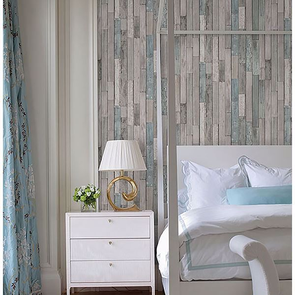 Picture of Barn Board Grey Thin Plank Wallpaper