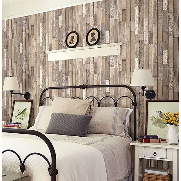 Picture of Barn Board Brown Thin Plank Wallpaper