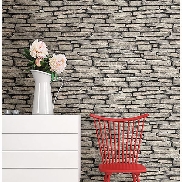 Picture of Ledge Grey Slate Wall Wallpaper