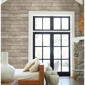 Picture of Weathered Grey Nailhead Plank Wallpaper