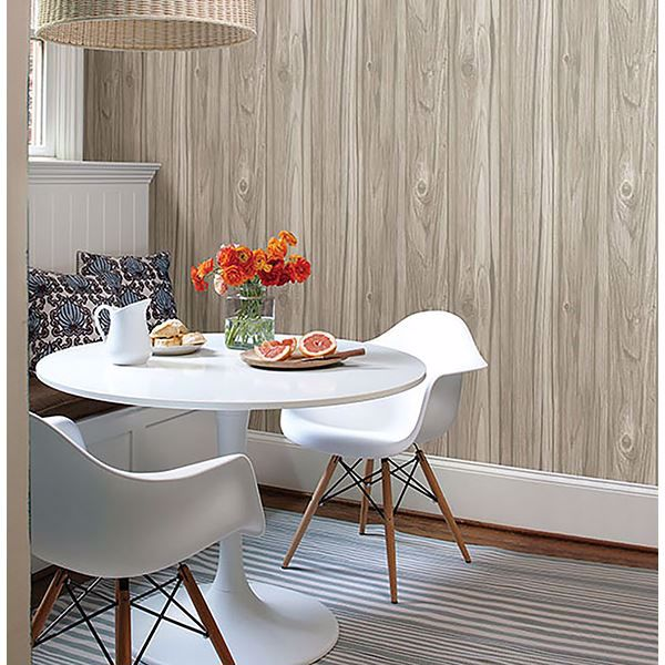 Picture of Paneling Grey Wide Plank Wallpaper
