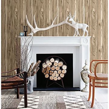 Picture of Paneling Brown Wide Plank Wallpaper