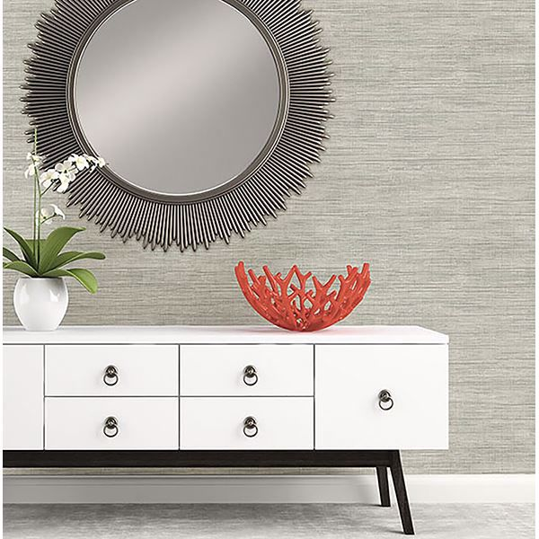 Picture of Island Grey Faux Grasscloth Wallpaper