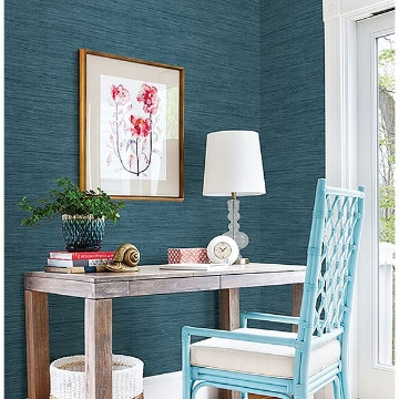 Picture of Sea Grass Blue Faux Grasscloth Wallpaper