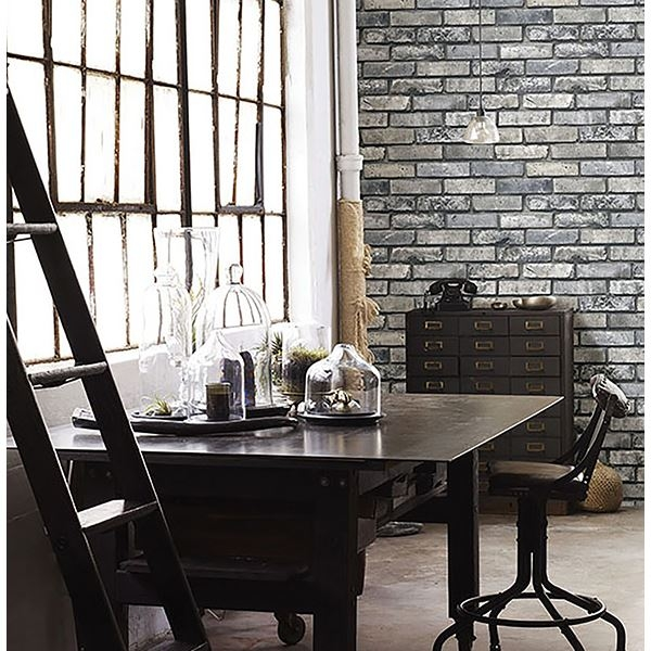 Picture of Painted Grey Brick Wallpaper