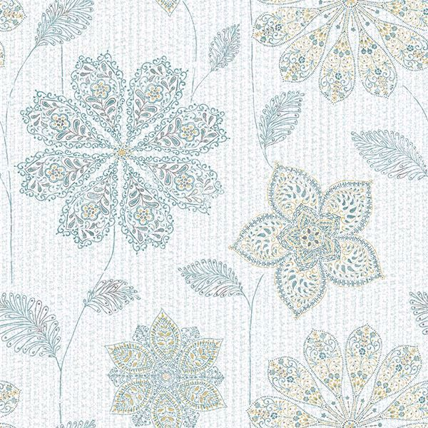 Gypsy Floral Blue Green Peel And Stick Wallpaper
