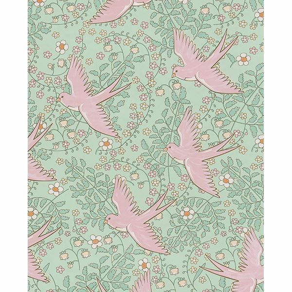 Picture of Cerina Mint Swallow Wallpaper