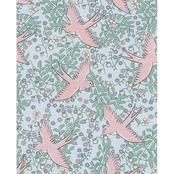 Picture of Cerina Light Blue Swallow Wallpaper