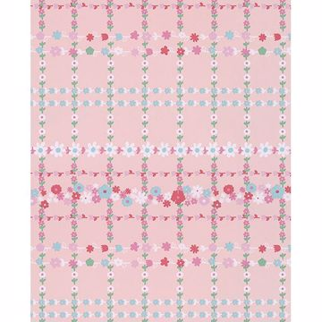 Picture of Belina Light Pink Flower Check Wallpaper