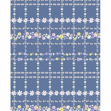 Picture of Belina Blue Flower Check Wallpaper
