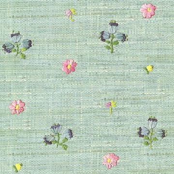 Picture of Gerda Mint Hand Embroidered Raffia Look Wallpaper