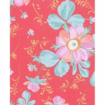 Picture of Lyse Coral Painted Flowers Wallpaper