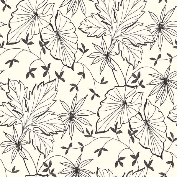 Picture of Off-White Ink Plants Wallpaper