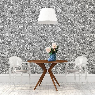 Picture of Celestial Black Floral Wallpaper