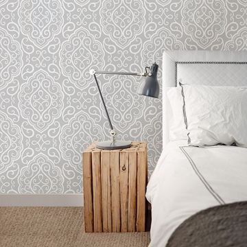 Picture of Heavenly Grey Damask Wallpaper