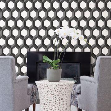 Picture of Hex Black Geometric Wallpaper