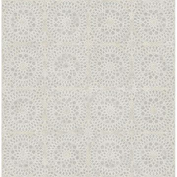 Picture of Twist Grey Medallion Wallpaper