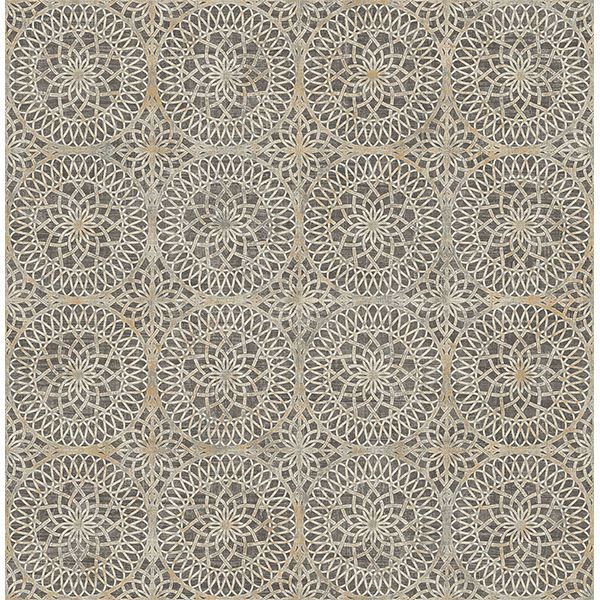 Picture of Twist Brown Medallion Wallpaper