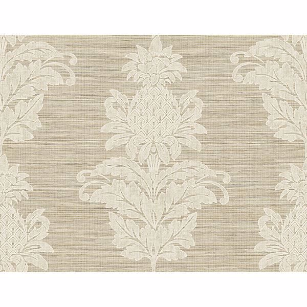 Picture of Pineapple Grove Brown Damask Wallpaper