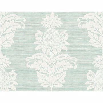 Picture of Pineapple Grove Turquoise Damask Wallpaper