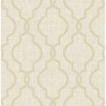 Picture of Geometric Jute Taupe Quatrefoil Wallpaper