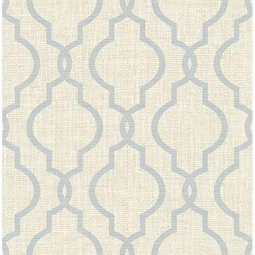Picture of Geometric Jute Grey Quatrefoil Wallpaper
