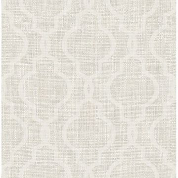 Picture of Geometric Jute White Quatrefoil Wallpaper