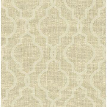 Picture of Geometric Jute Gold Quatrefoil Wallpaper