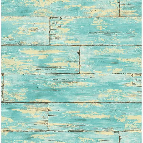 Picture of Shipwreck Aquamarine Wood Wallpaper