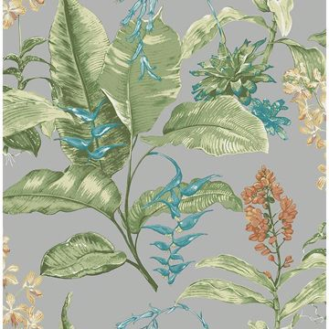 Picture of Maui Grey Botanical Wallpaper